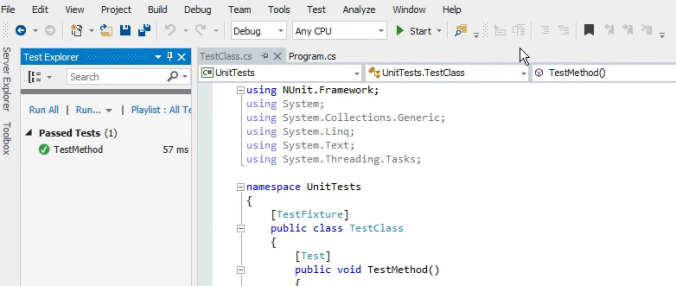 Test run on Visual Studio 2015 and NUnit 3